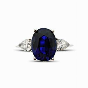Sapphire & Pear Shape Diamond Three Stone Ring - 3.00ct